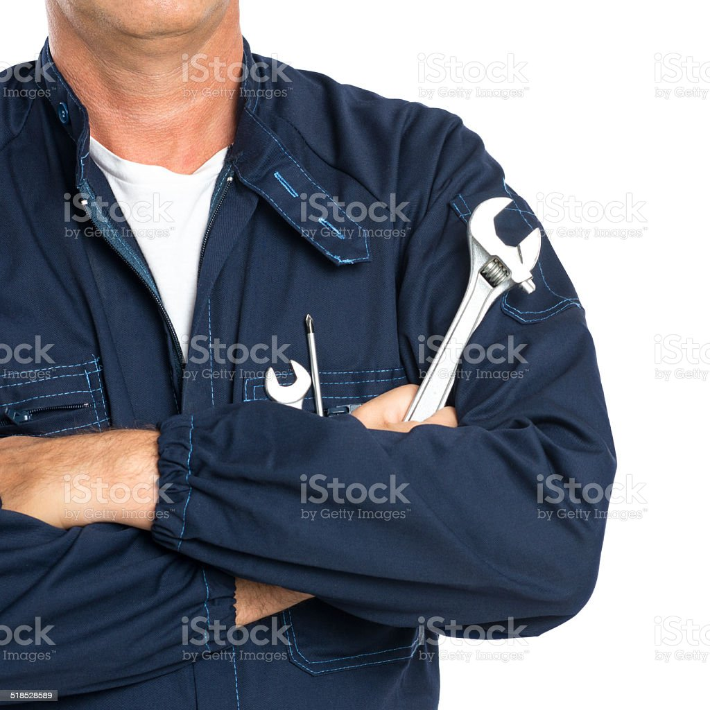 Mechanic With Spanner stock photo