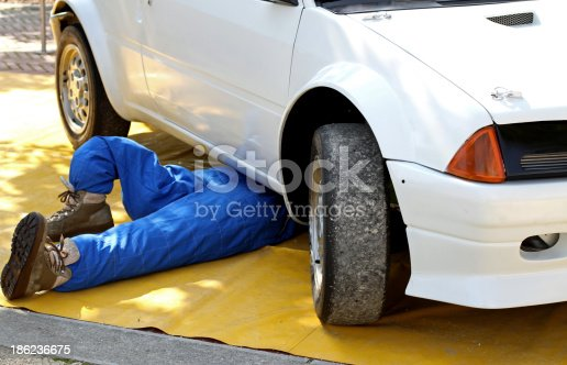 istock mechanic with the suit from work while repairing 186236675