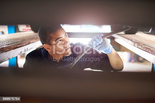 istock Mechanic working on car 599975754