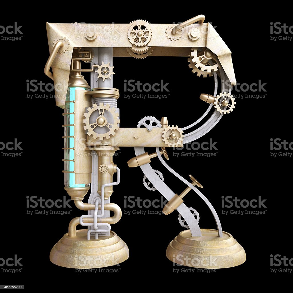 Mechanical alphabet made from iron. stock photo