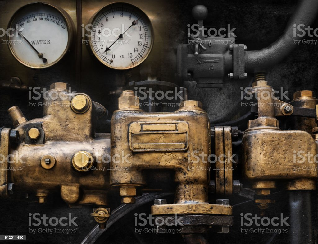 Mechanical and Steampunk grunge background collage. Old mechanism. stock photo