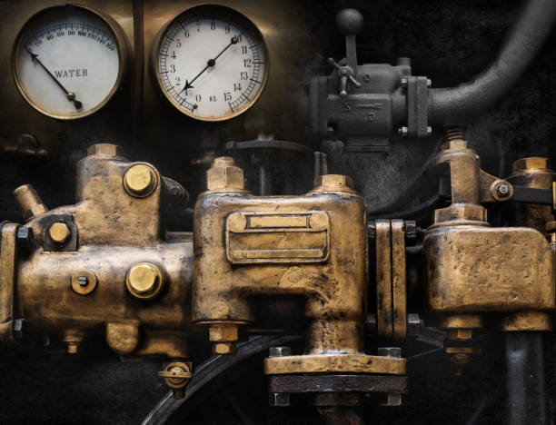 mechanical and steampunk grunge background collage. old mechanism. - steampunk stock photos and pictures