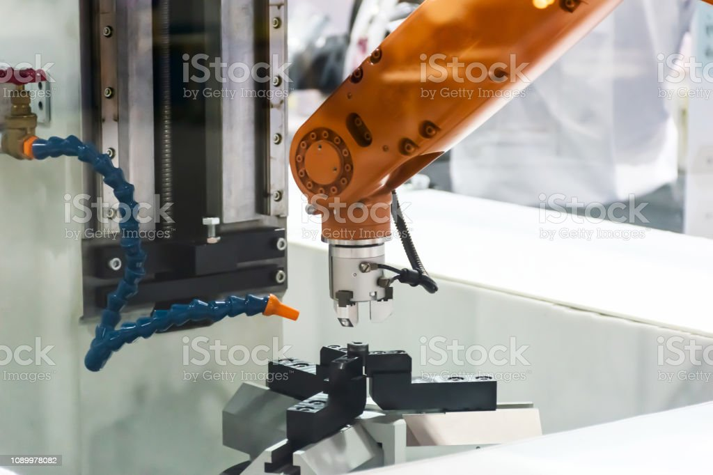 Mechanical arm Industrial and production technology stock photo