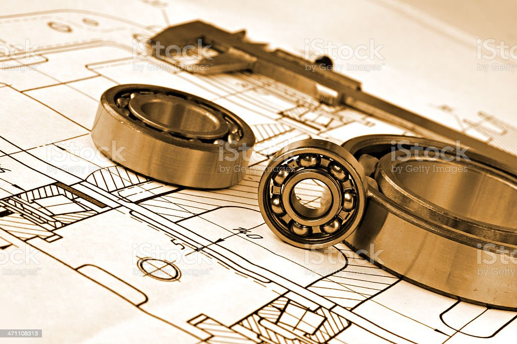 mechanical drawing and bearings stock photo