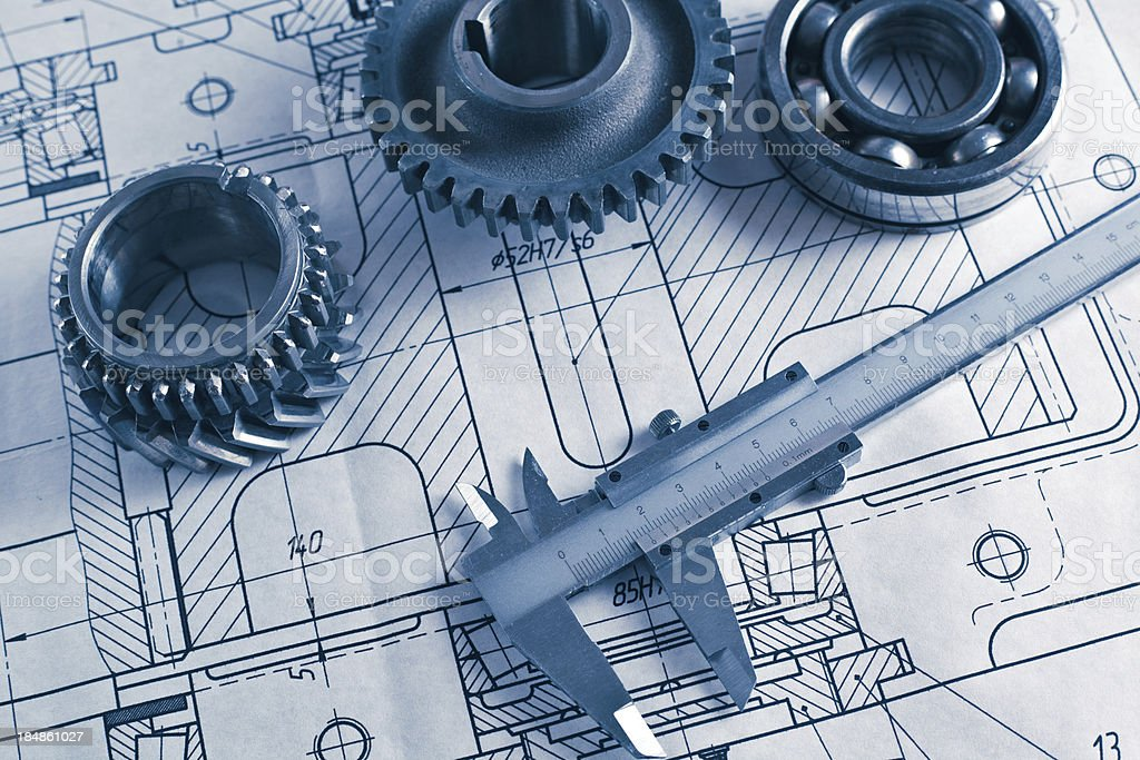 mechanical drawing and gearwheel royalty-free stock photo