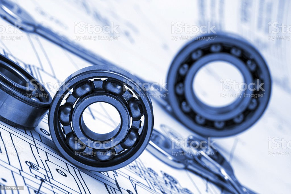 mechanical drawing and tools royalty-free stock photo