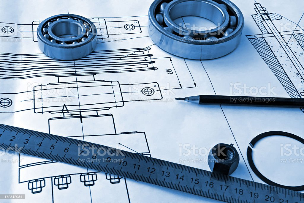 Mechanical drawings with a ruler and pencil royalty-free stock photo