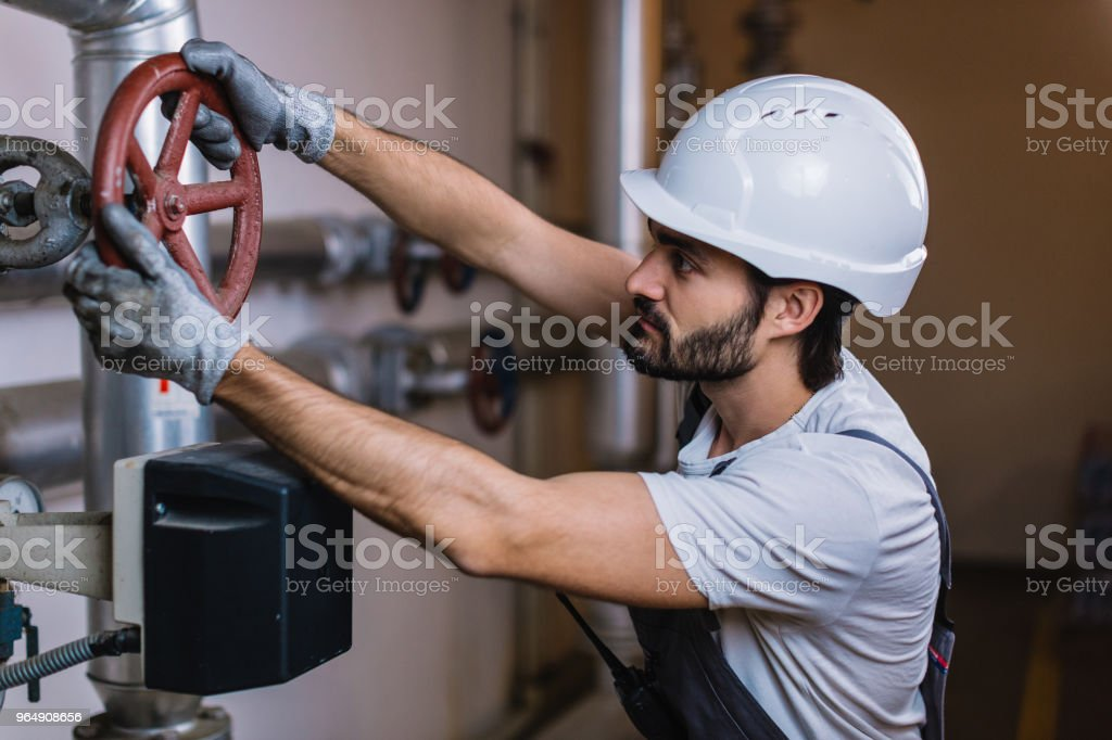 Mechanical engineer inspector inspection crude oil pump royalty-free stock photo