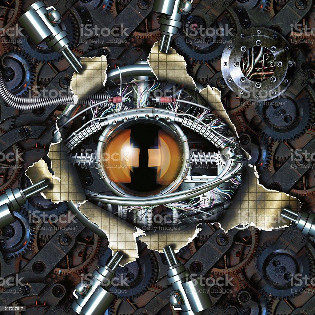 Mechanical eye stock photo