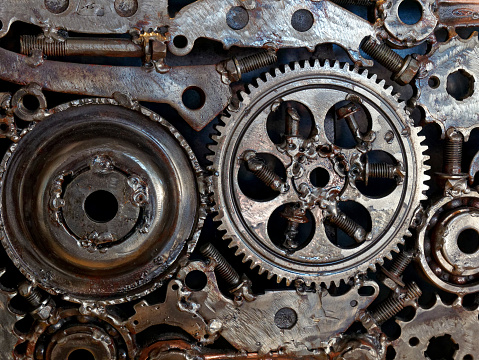 mechanical gear wheels bolts and nuts