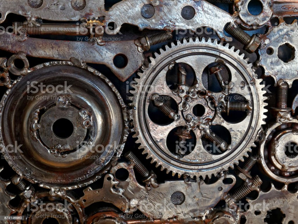 mechanical gear wheels bolts and nuts stock photo