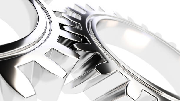 mechanical gear with sharp light and white environment 3d illust – Foto