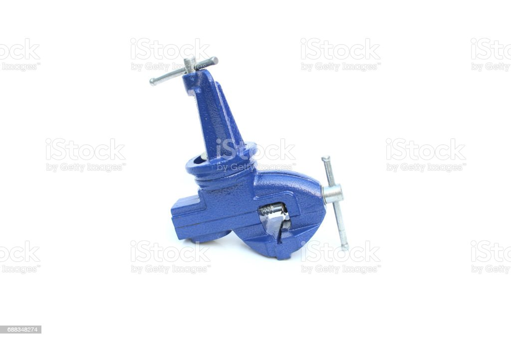 Mechanical hand vise clamp on isolated white stock photo