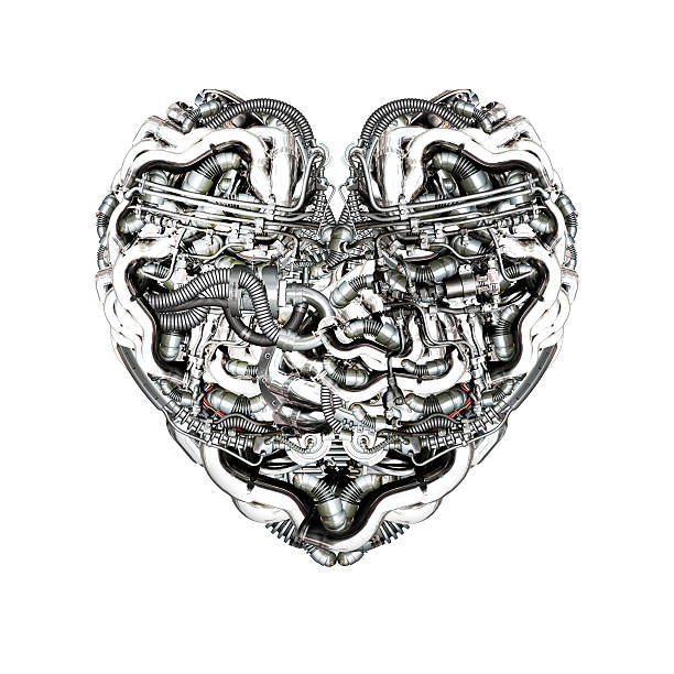 Mechanical Heart with brain stock photo