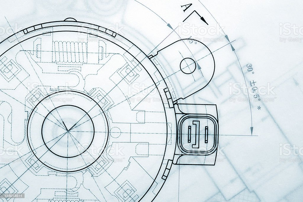 Industria mecánica cianotipo - Foto de stock de Abstracto libre de derechos