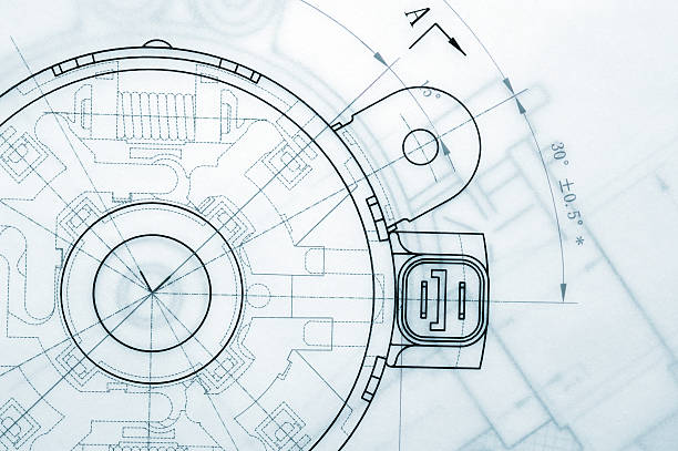 mechanical industry blueprint - diagram stock pictures, royalty-free photos & images