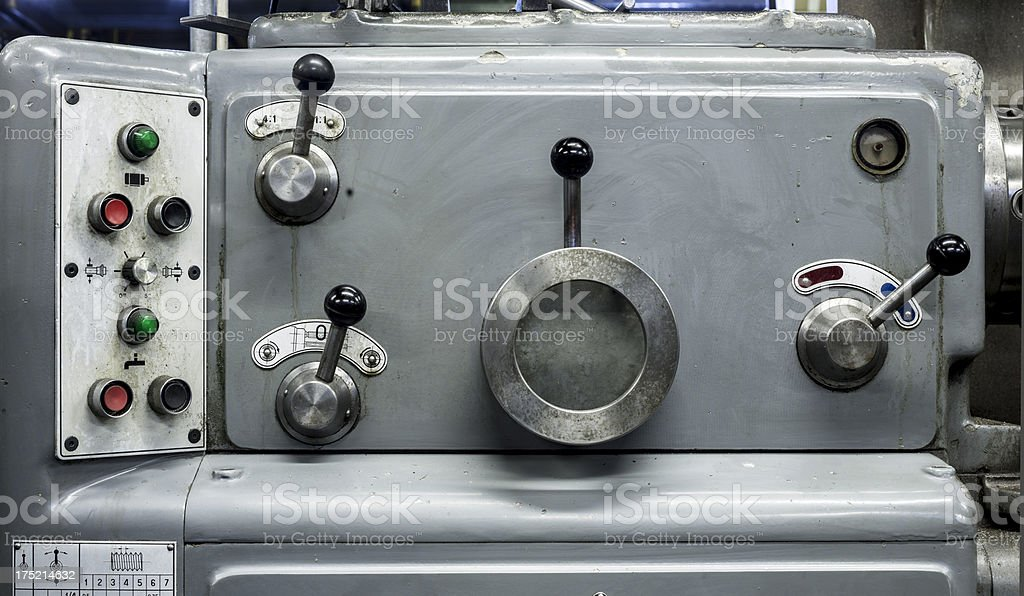 Mechanical industry old machinery lathe stock photo