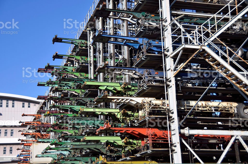 mechanical multistory parking garage for cargo container chassis stock photo