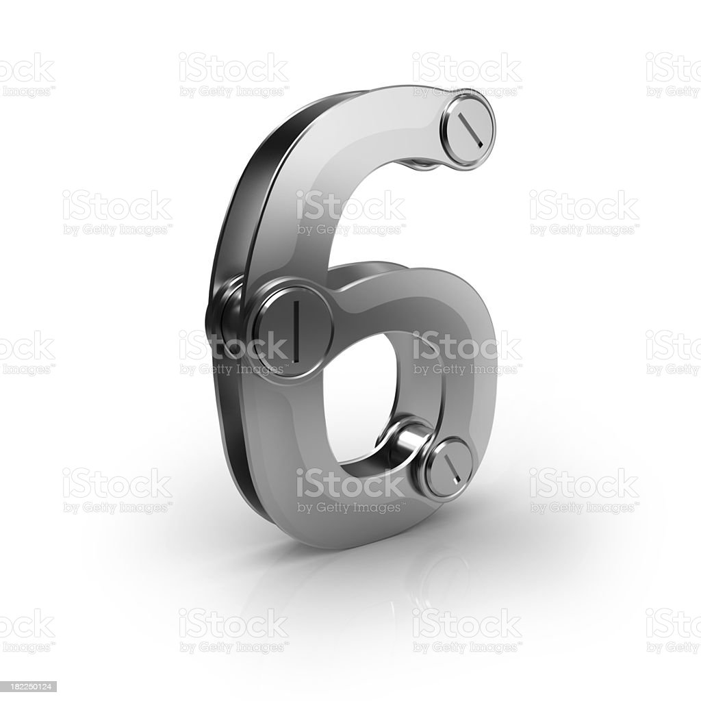 mechanical number  6 royalty-free stock photo