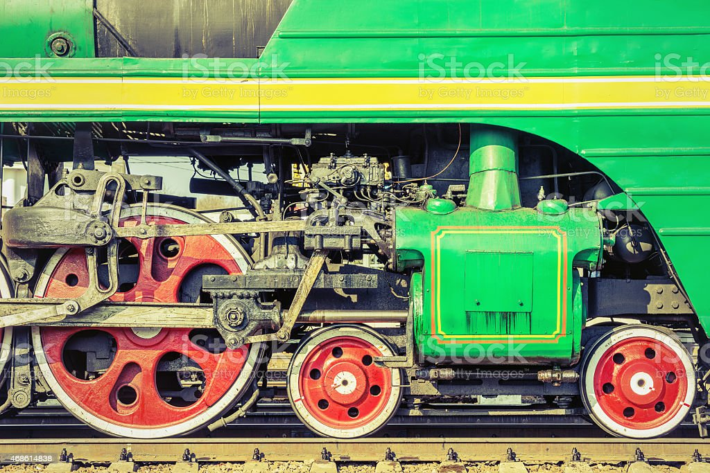 Mechanical part and wheels of the steam locomotive stock photo