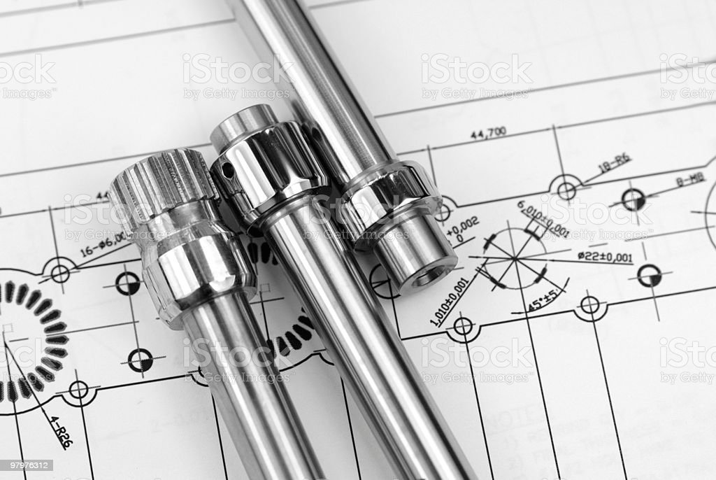Mechanical parts on a blueprint royalty-free stock photo