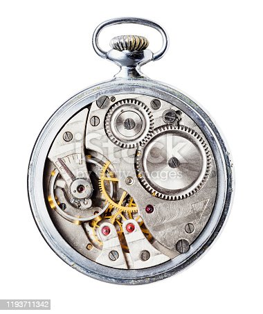 vintage mechanical Pocket watch without back cover isolated on white background