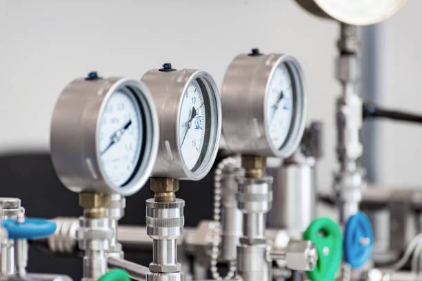 Mechanical pressure gauges stock photo
