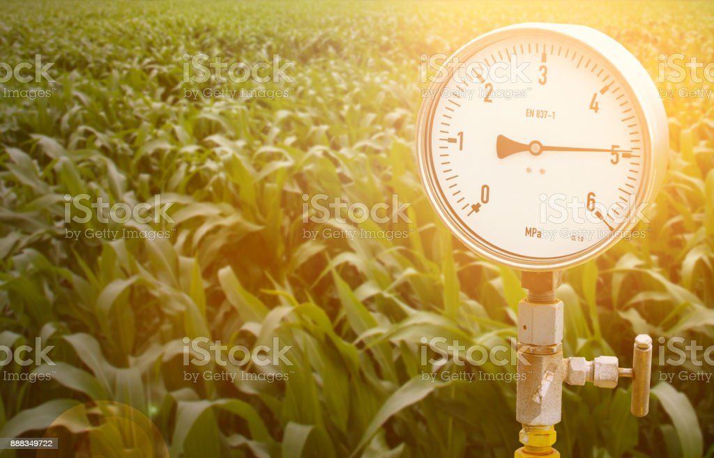 Mechanical pressure gauges. Traditional instruments for measuring pressure. stock photo