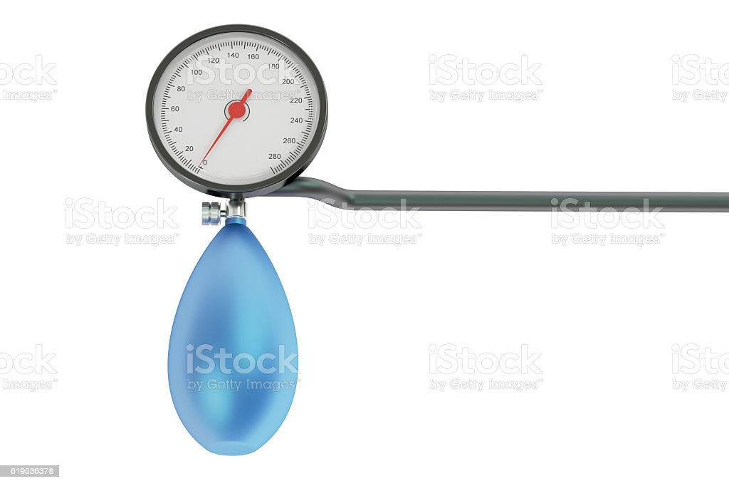 mechanical pressure-gauge, sphygmomanometer. 3D rendering stock photo