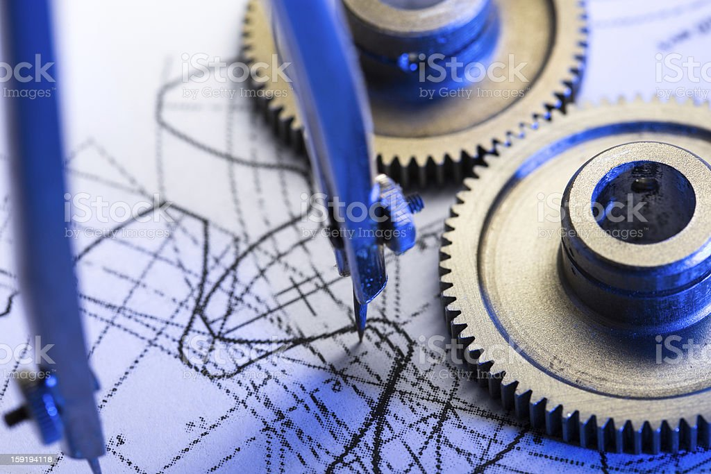 Mechanical ratchets, dividers and drafting royalty-free stock photo