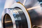 Mechanical seal of industrial pump. Labyrinth metal seal.