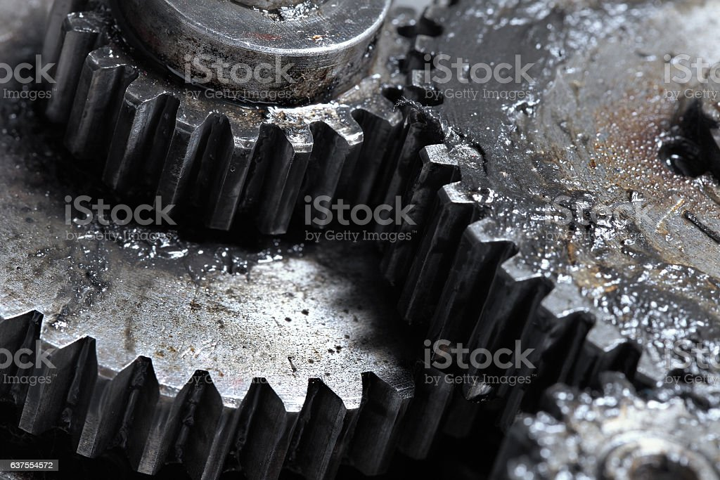Mechanical Transmission of rotation by means of gears stock photo