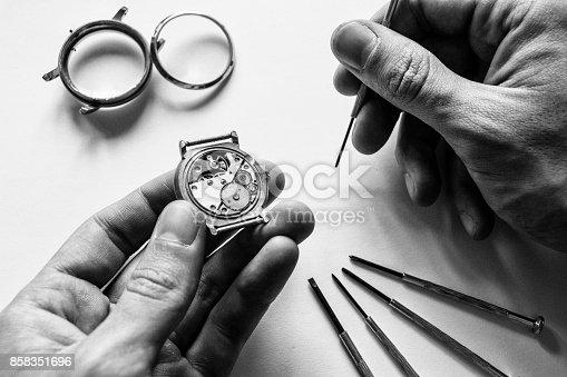 istock Mechanical watch repair 858351696