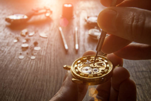 Mechanical watch repair stock photo