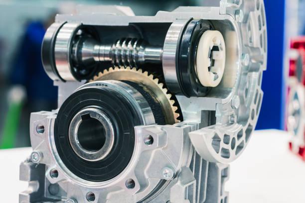 Mechanische Schneckengetriebe, Querschnitt. Nahaufnahme – Foto