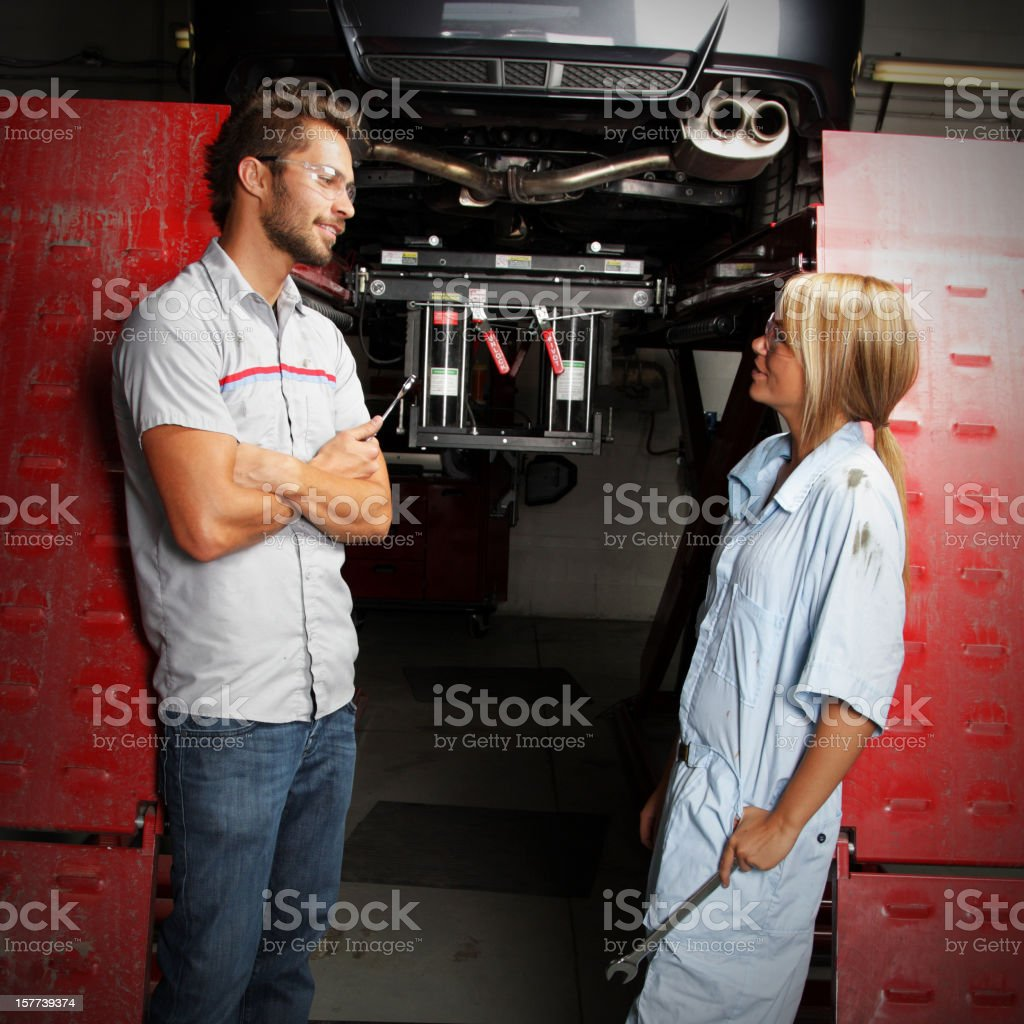 Mechanics in Autobody Shop stock photo