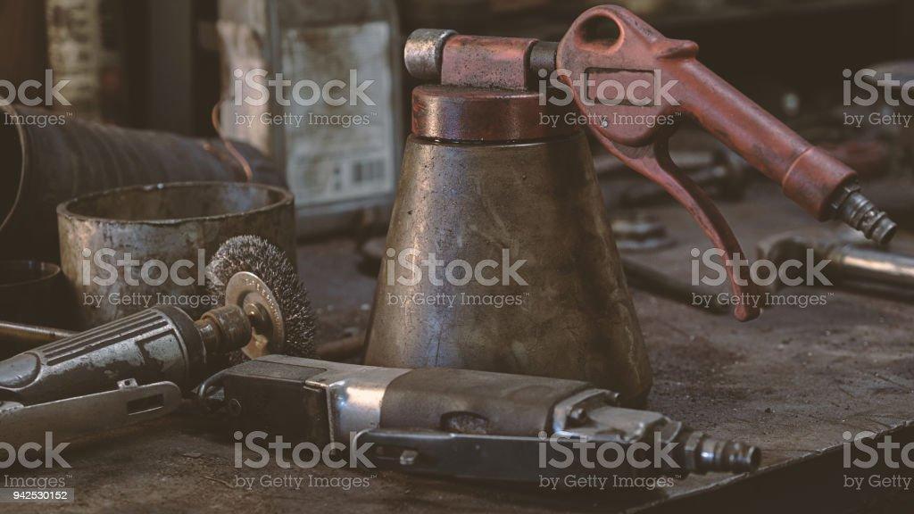 Mechanic's workshop things stock photo