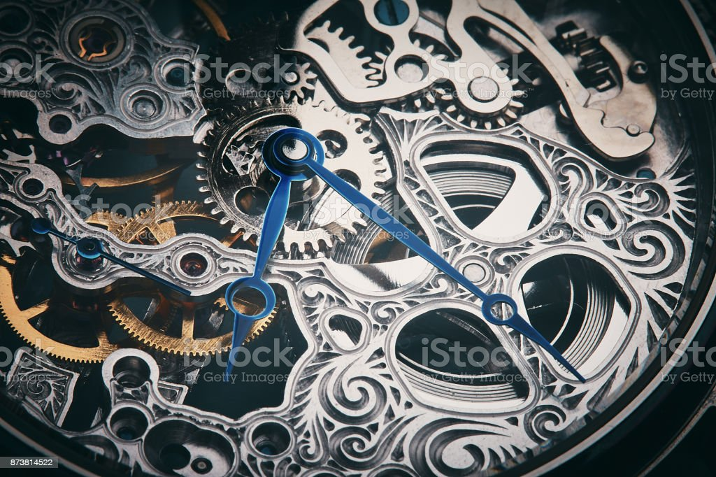 Mechanism of a decorative skeleton watch stock photo
