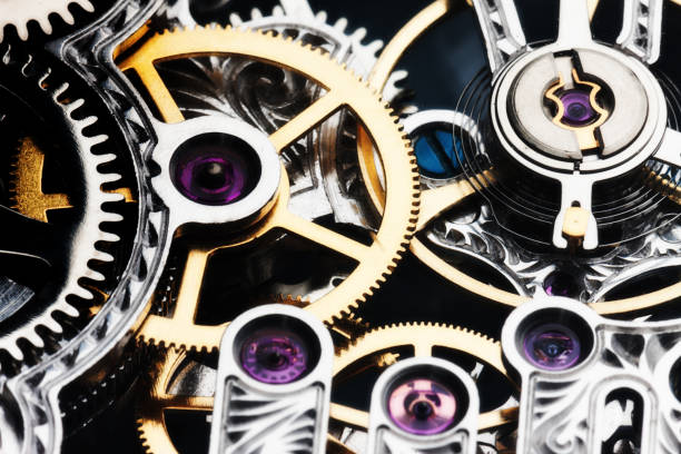 mechanism of a watch seen in close-up detail - intricacy stock pictures, royalty-free photos & images