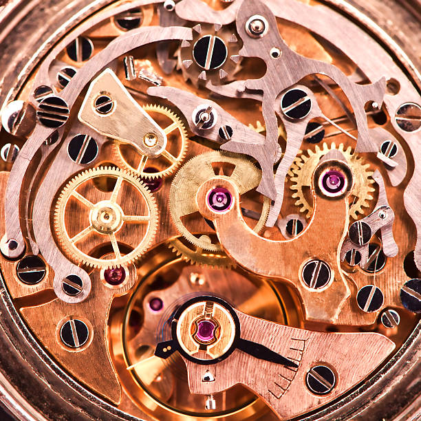 mechanism of an old wrist watch - watch timepiece stock photos and pictures