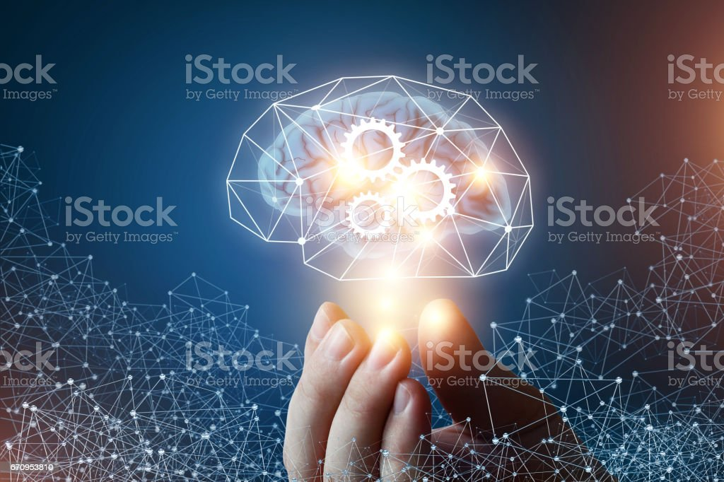 Mechanism of innovative thinking. stock photo