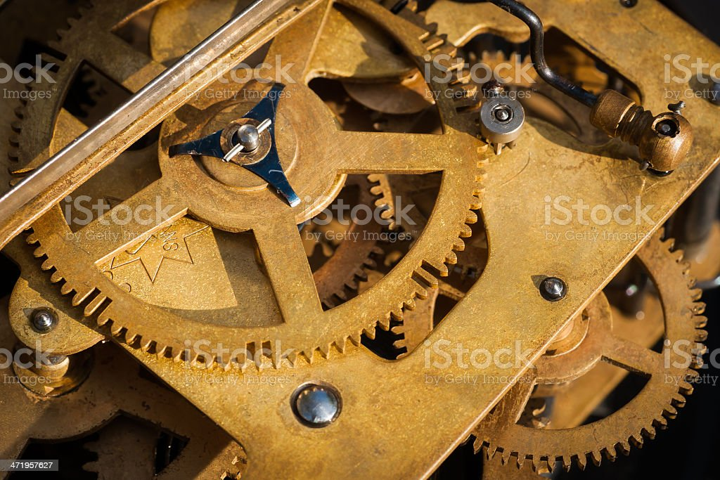 Mechanism of old clock stock photo