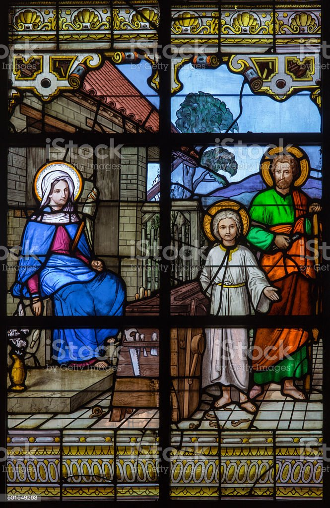 Mechelen - Holy family on windowpane in st. Katharine church stock photo