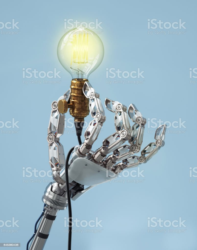 MechHand-lightbulb stock photo