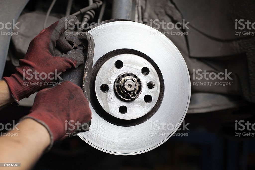 Mechsning changing brake pads of car stock photo