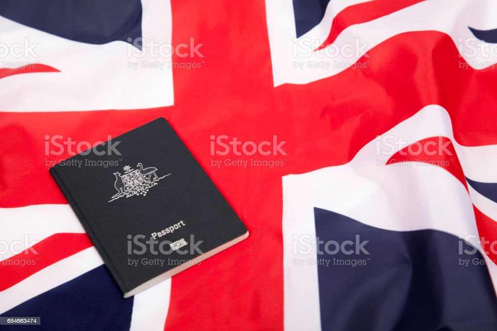 Medal and UK flag stock photo