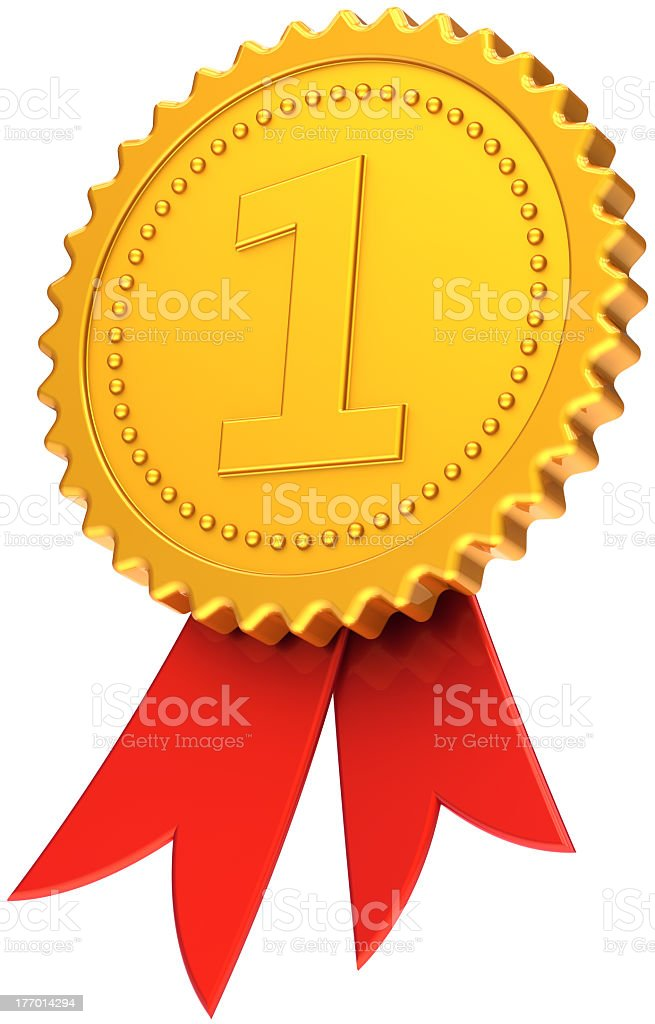 Medaglia Primo Posto Premio Nastro Rosette Icona Numero Uno Foto Stock  Royalty Free