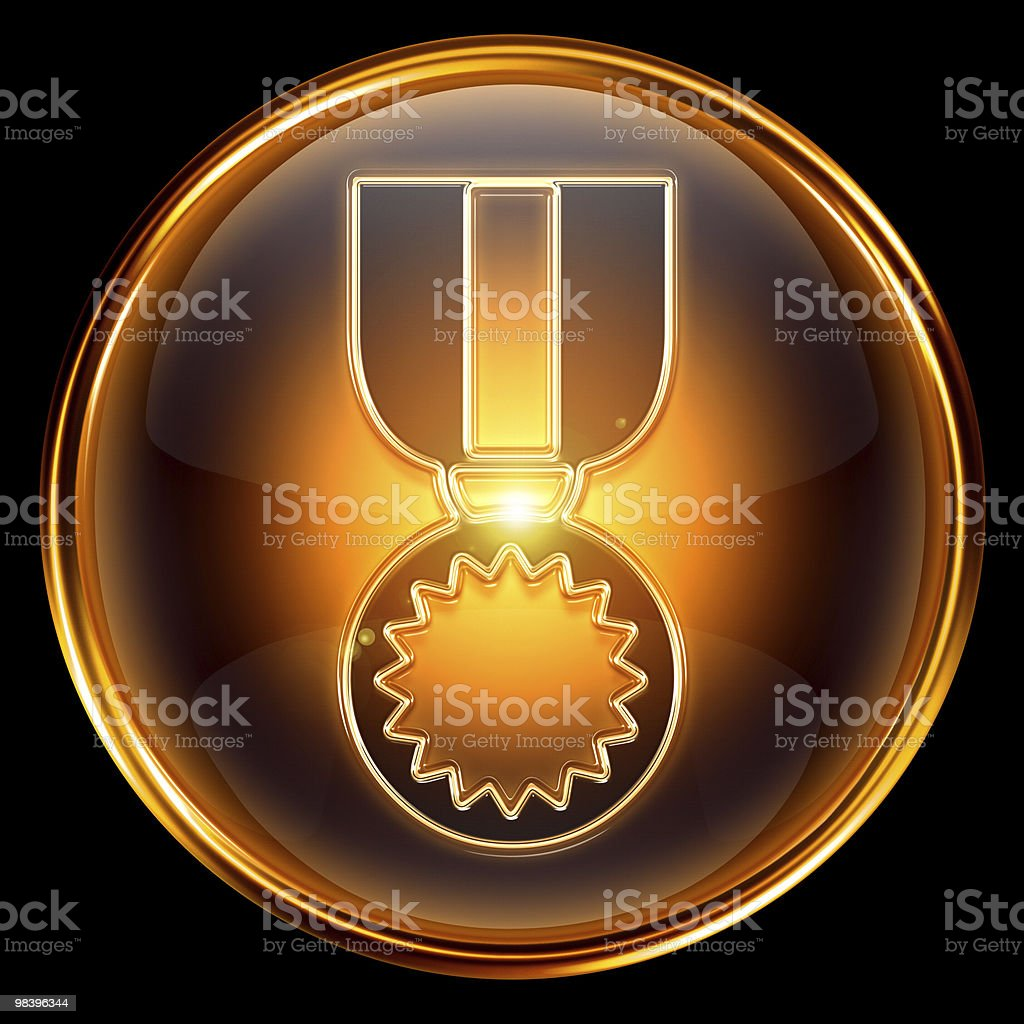 medal icon golden, isolated on black background. royalty-free stock photo