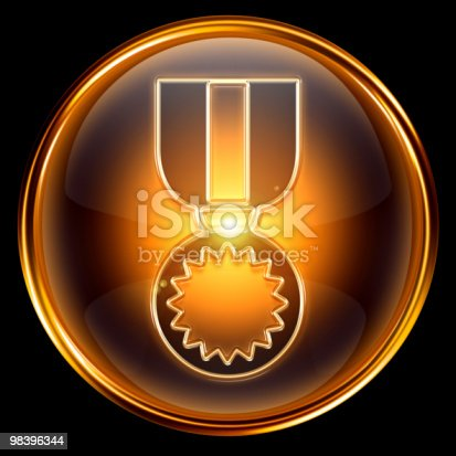 Medal Icon Golden Isolated On Black Background Stock Photo & More Pictures of Achievement