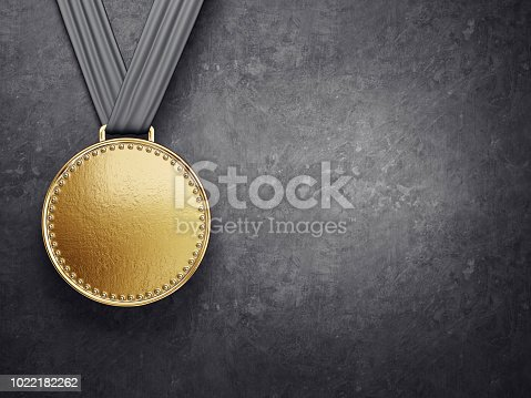 gold medal isolated on a black background. 3d illustration